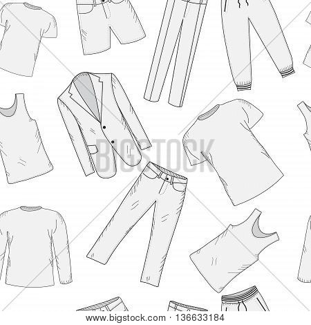 Clothing set seamless pattern sketch. Men's clothes hand-drawing style. Men's Clothing background. Men's clothes vector illustration.
