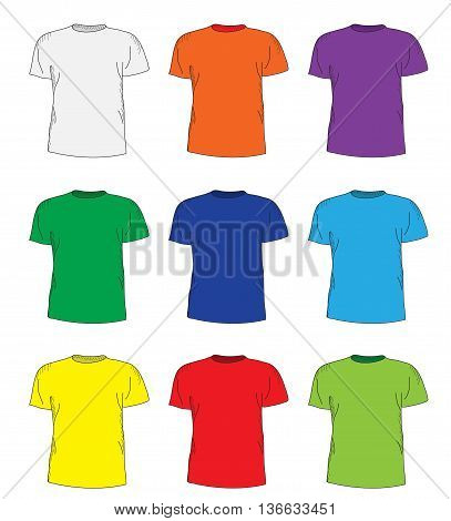 Men's t shirts design template set. Multi-colored T-shirts hand-drawing style. mockup shirts. Vector illustration