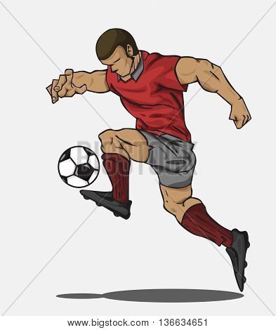 Soccer player kicking the ball. Vector illustration
