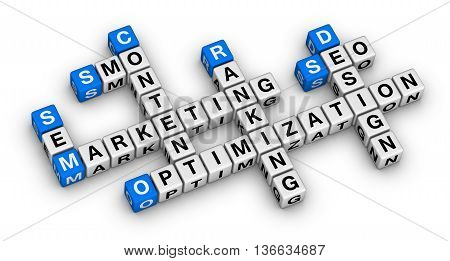 website marketing 3d crossword puzzle isolated in white