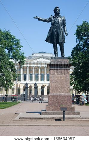Monument to A.S. Pushkin at Arts Square before the building of the State Russian Museum. St. Petersburg. June 1, 2016
