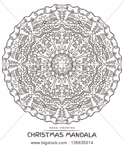 Vector mandala for coloring with christmas decorative elements. Patterned Design Element Coloring book.