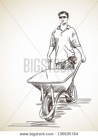 Sketch of man walking with wheelbarrow, Hand drawn illustration