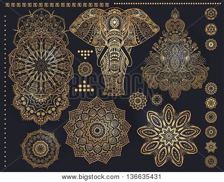 Mandala set and other elements. Vector. Mandala tattoo. Ornament invitation card with mandala. Vintage decorative elements. Tribal, Boho, Bohemian style. Elements for flash tattoo