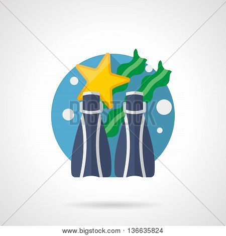 Pair of blue flippers, yellow starfish and green seaweed. Snorkeling and diving outfit. Summer vacations on seaside. Round detailed flat color style vector icon.
