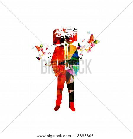 Vector illustration of colorful man with camera head