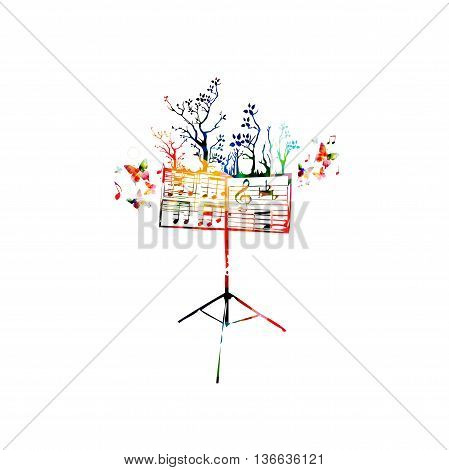 Colorful music background with music stand and butterflies