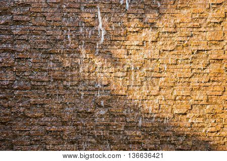The waterfalls rock wall in garden Background texture