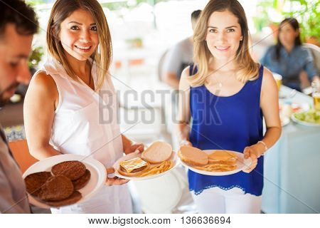 Pretty Young Women At A Barbecue