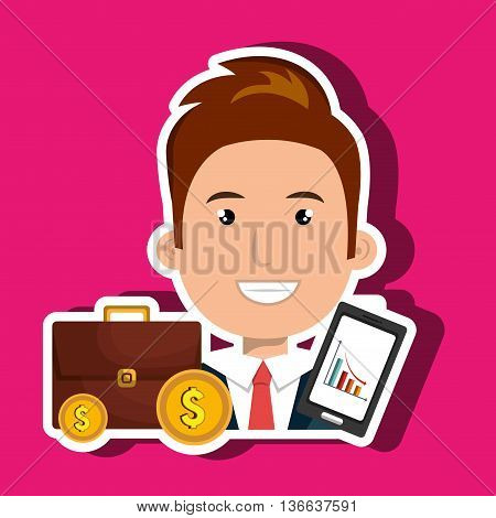 man with portfolio and coins isolated icon design, vector illustration  graphic