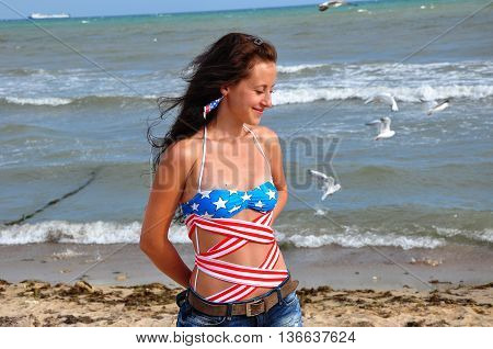 Happy Woman On Beach, Independence Day Usa