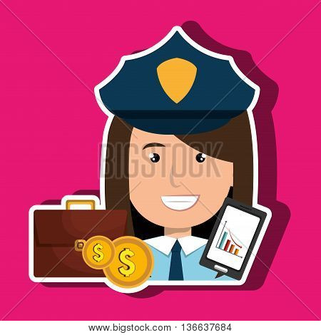 police with portfolio and coins isolated icon design, vector illustration  graphic