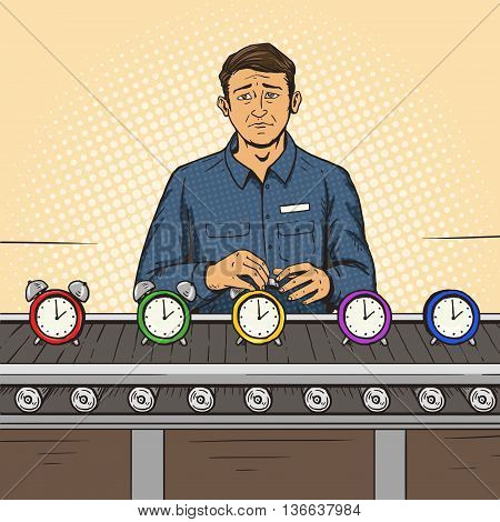 Man working on the assembly line pop art style vector illustration. Comic book style imitation
