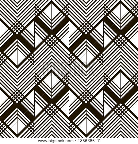 Seamless geometric black and white pattern. Giant horizontal zigzag and lattice of intersecting chevron lines. Stylish modern graphic print. Vector illustration for various creative projects
