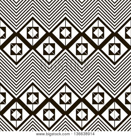 Seamless black and white pattern of horizontal zig zag. Squares divided into two triangles, placed one inside another and giant zigzag with chevron lines. Vector illustration for creative design