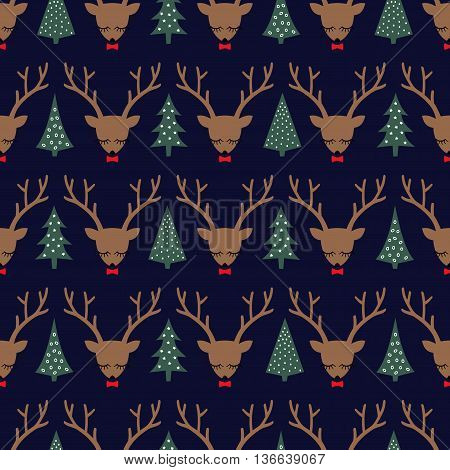 Cute sleeping deer with bow and Xmas Trees seamless pattern. Deer head silhouette background for winter holidays