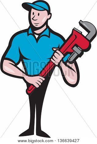 Illustration of a plumber in overalls and hat standing looking to the side holding monkey wrench viewed from front set on isolated white background done in cartoon style.