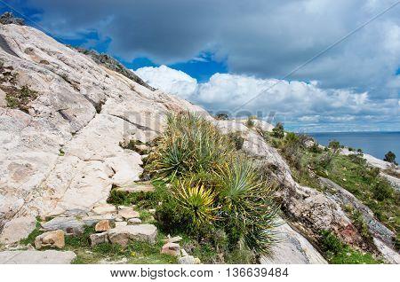 Landscape On Island Of The Sun (isla Del Sol) On Titicaca Lake. Bolivia.