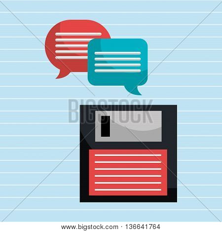 speech bubbles with floppy isolated icon design, vector illustration  graphic