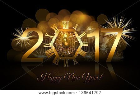 New Year numerals with a gold clock and fireworks background