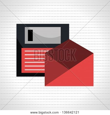 floppy disk with envelope isolated icon design, vector illustration  graphic
