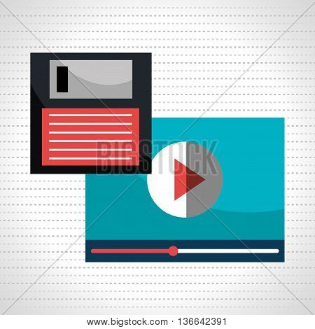 floppy disk with media player  isolated icon design, vector illustration  graphic