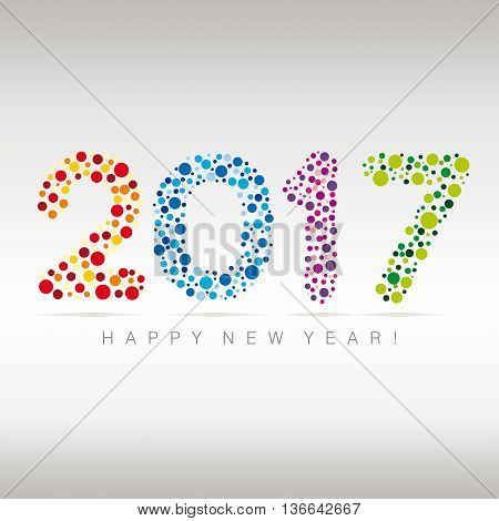Flat multicolor New Year numerals with bubbles design on a subtle background