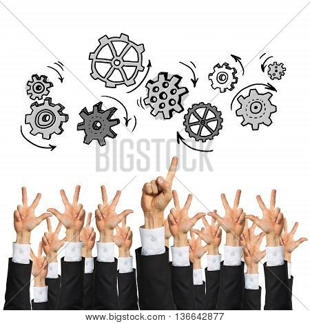 Group of hands of businesspeople showing gestures isolated on white