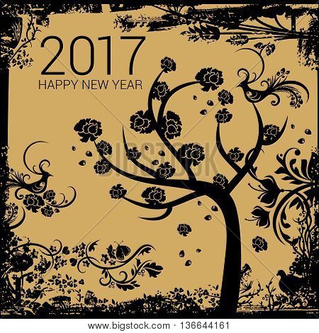 Happy tree with black roses on a golden grungy background with New Year numerals