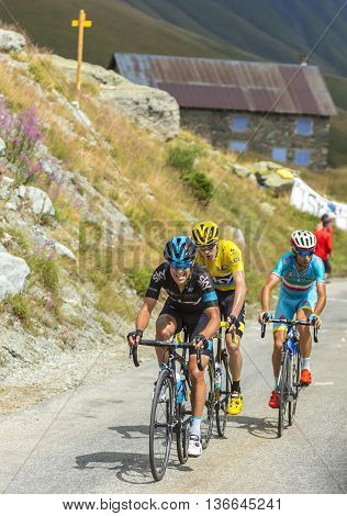 Col de la Croix de Fer France - 25 July 2015: PorteFroome and Nibali at Col de la Croix de Fer in Alps during the stage 20 of Le Tour de France 2015.