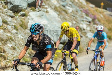 Col de la Croix de Fer France - 25 July 2015: The Australian cyclist Richie Porte of Team Sky climbing to the Col de la Croix de Fer in Alps during the stage 20 of Le Tour de France 2015.