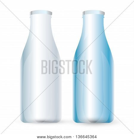 Traditional glass milk bottle. EPS-10. Milk bottle design. Vector Milk bottle.  Milk bottle and packaging for branding, packaging, web, website, advertising, advertising booklets