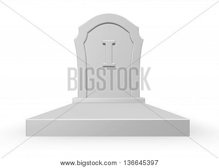 gravestone with letter i - 3d rendering