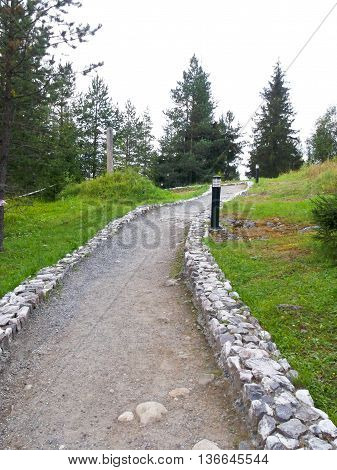 path in the forest laid with stones