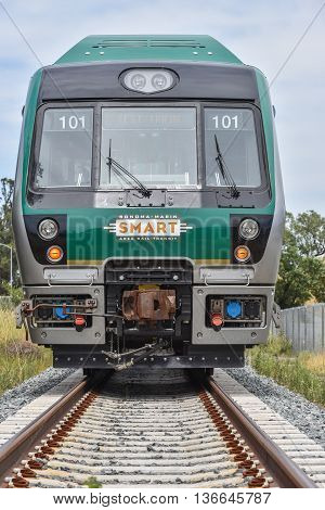 San Rafael California - June 10 2016 : SMART (Sonoma Marin Area Rail Transit) train testing of new cars on new rails.