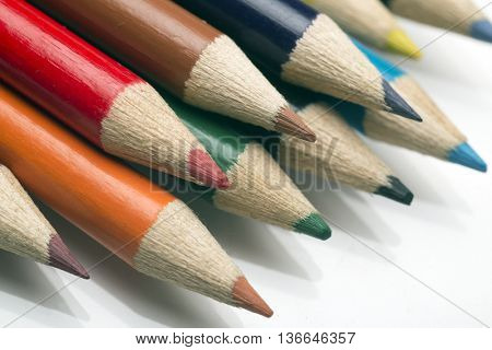 colored pastels on white