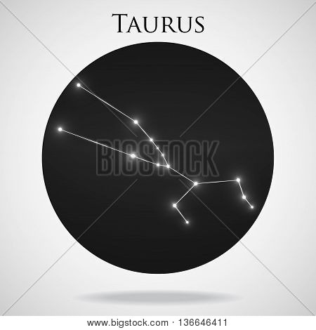 Constellation taurus zodiac sign isolated on white background