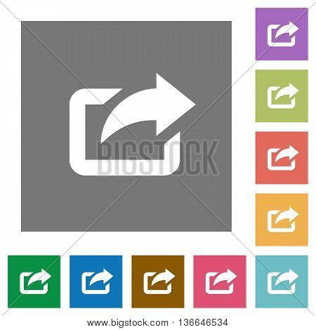 Export flat icon set on color square background.