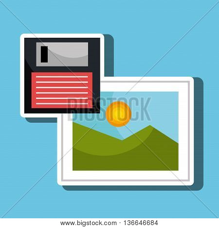 floppy disk with picture  isolated icon design, vector illustration  graphic