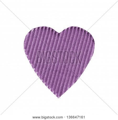 the symbol of a heart cut from corrugated cardboard purple colors isolated on white background. the concept of love Valentine's day
