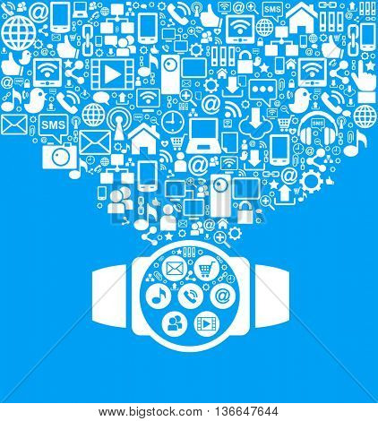 Smart watch and social media icons on blue background. Communication in the global computer networks