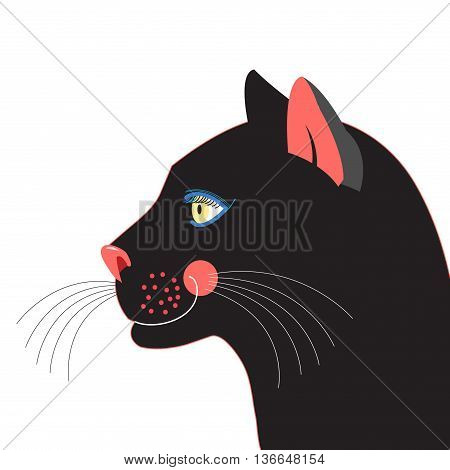 Graphic portrait of a black panther on a white background