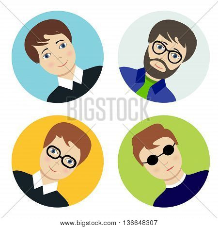 turn Avatar Man on a colored background. vector Man set hairstyles.