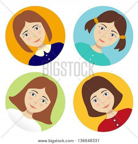 turn Avatar Girl on a colored background. vector Girl set hairstyles.