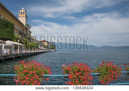 Garda Lake At Gardone Riviera, Pictorial Lakeside Promenade