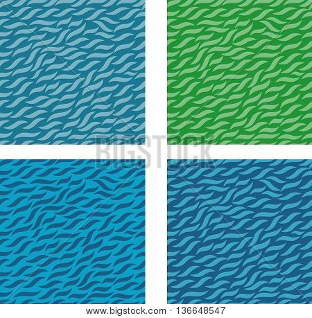 Blue wave seamless pattern background. grass pattern seamless. Green waves. Graphic vector background with waves.