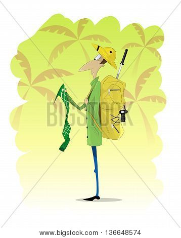 Man traveler standing and looking at map on jungle background. Vector illustration. Travel, scientific expeditions, treasure hunt concept illustration