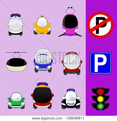 Set of various city traffic vehicles icons featuring taxi, hybrid car, delivery car, ambulance, police car, bus, MRT or train, cable railway, fire engine, mini van and parking signs and traffic light.