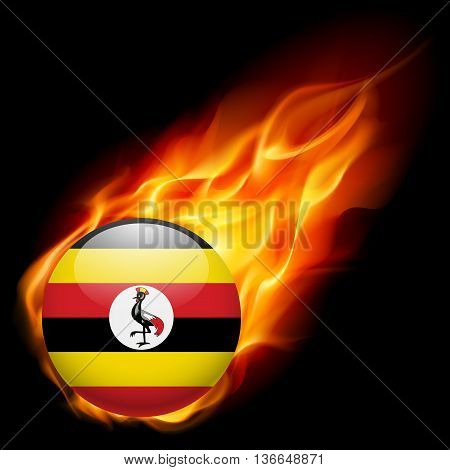 Flag of Uganda as round glossy icon burning in flame