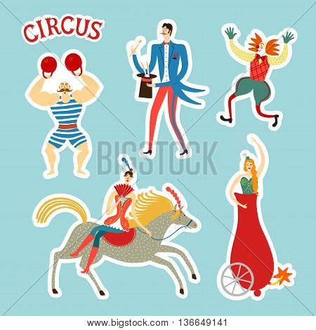 Circus performance decorative illustration with cute hand drawn performers like magician mighty man clown rider. Sticker style cartoon vector illustration.